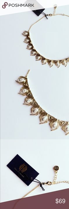 """🌷Brand new House of Harlow pearl enamel necklace Gorgeous gold plated collar necklace with pearl enamel🌷 Lobster closure. Brand: House of Harlow 1960. 16"""" long and 0.9"""" at the widest point. New with tag. No trade. Bundle to save more❗️ House of Harlow 1960 Jewelry Necklaces"""