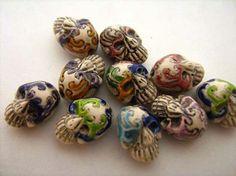 10 Tiny Masked Skull Beads by TheCraftyBead on Etsy
