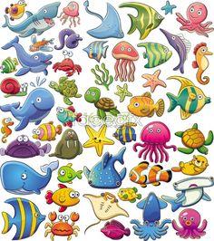 Cute sea animal cartoon vector