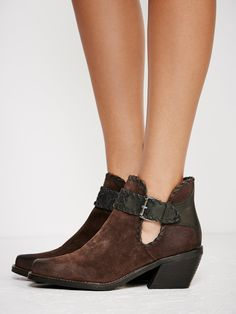 Walk The Line Ankle Boot   Western-inspired ankle boot featuring a square toe…