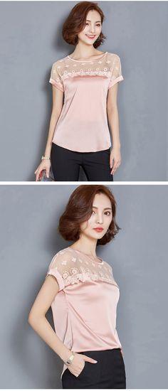 Coreano 2016 verão das mulheres de seda costura blusas feminino Casual Plus Size Tops Sexy blusa camisas em Blusas de Roupas e Acessórios no AliExpress.com | Alibaba Group