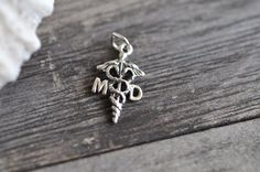 Mini Sterling Silver Caduceus Medical MD Charm Pendant Made in USA by Pearlwearbeads on Etsy