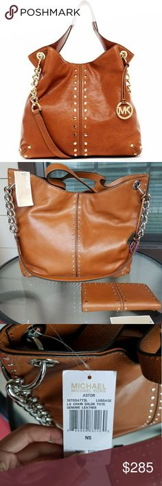 """MICHAEL Michael Kors Astor Shoulder Bag + Wallet New with tags + defects last pic WALLET INCLUDED Color is walnut Turn heads in this super-slouchy, studded Astor shoulder bag. Spacious hobo shape with edgy hardware—rows of high-shine studs, a chain-link strap and an oversized charm. Crafted from sumptuous tumbled leather, it's a bag that just gets better with time—and always looks cool. -Leather -Two top handles, shoulder strap (15"""" adjustable drop) -One interior zip pocket, four interior…"""