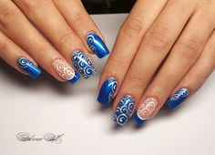 Одноклассники Blue Nails, Nails On Fleek, Simple Nails, Swirls, Nail Designs, Hair Beauty, Nail Art, Makeup, Lace