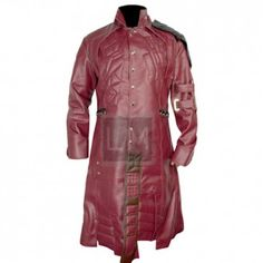 Guardians Of The Galaxy Red Faux Leather Long Coat