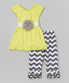 Another great find on #zulily! Yellow Tunic & Gray Zigzag Pants - Infant, Toddler & Girls by Tutus by Tutu AND Lulu #zulilyfinds