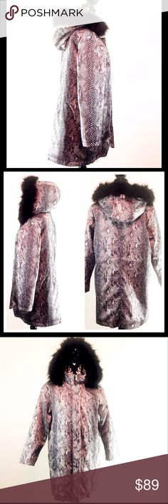 Isaac Mizrahi Snake Print Coat w/ Fur Trim Hood Brand new without tags! NWOT. Isaac Mizrahi gorgeous snake print black & cream coat with black faux fur trimmed hood. Size Medium.  85% acrylic , 15% poly. Water repellant.  Dry clean only.  There is no inside drawstring tie on this one.                                                 🔹Please ask all your questions before you purchase! I am happy to help! 🔹Sorry, no trades or holds. 🔹Please, no lowball offers 🔹Please use Offer Button…