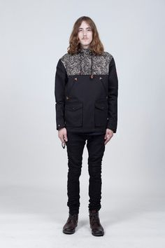 Paisley Motif Parka Jacket in Black
