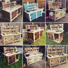 Top 14 Mud Kitchen Ideas for Kids on Sensod – Sensod – Create. It's time to enjoy the mud season with creative mud kitchen ideas exclusively on sensod. Combination of rustic, colorful, and inventiveness ideas for kids Outdoor Play Kitchen, Diy Mud Kitchen, Mud Kitchen For Kids, Kids Outdoor Play, Backyard For Kids, Diy For Kids, Kitchen Ideas, Casa Kids, Pallet Kids