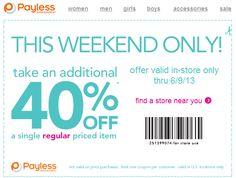 Pinned June 7th: 40% off a single item at Payless Shoesource coupon via The Coupons App