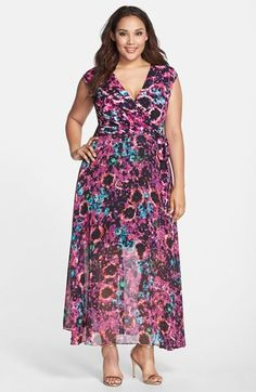 Plus Size Floral Faux Wrap Maxi Dress