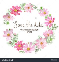 Floral Circle Frame with Cosmos flowers. Hand drawn watercolor vector illustration