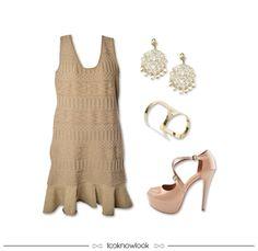 Vestido + Acessórios Dourados + Peep Toe Nude | Inspiração de look para o Natal #moda #look #outfit #looknowlook
