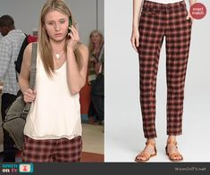 Amy's red plaid pants on Faking It.  Outfit Details: http://wornontv.net/41173/ #FakingIt