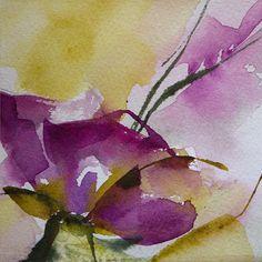 Petit instant N°331 - Peinture,  10x10 cm ©2015 par Véronique Piaser-Moyen -                                                            Peinture contemporaine, Papier, Fleur, aquarelle, watercolor, fleur, flower, piaser, veronique piaser-moyen