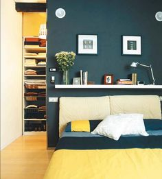Blue and Yellow Bedroom | #BlueandYellow | Dark Blue Bedrooms | #DarkBlueBedrooms
