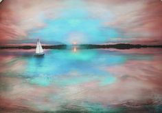 Gina Signore. Special listing for Dan, Water's edge, art, photography, nature, sail boat, lake house decor, cottage decor, blue art, turquoise, teal
