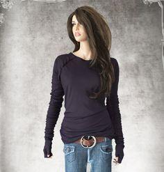 Ruffle raglan top/purple thumbhole tee/super long by tratgirl55