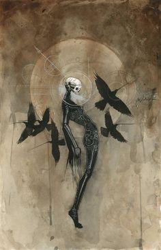 skull and crows illustration Arte Horror, Horror Art, Dark Fantasy Art, Art Macabre, Art Sinistre, Drawn Art, Arte Obscura, Creepy Art, Art Et Illustration