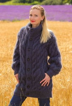 Bluish grey hand knitted mohair sweater long cable cardigan jacket by SUPERTANYA #SuperTanya #BasicCoat #Casual