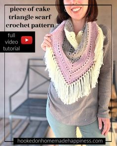 The Piece of Cake Triangle Scarf Crochet Pattern is just that… a piece of cake! It's a super easy, beginner friendly triangle scarf. Crochet Prayer Shawls, Crochet Shawl, Free Crochet, Crochet Shrugs, Crochet Stitches, Modern Crochet Patterns, Crochet Designs, Crochet Scarves, Crochet Clothes