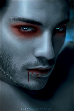 the vampire who falls in love with Ri.a vampire/werewolf hybrid. Art Vampire, Vampire Eyes, Vampire Love, Vampire Makeup For Men, Devil Makeup, Maquillage Halloween Vampire, Dark Fantasy, Fantasy Art, Running In The Dark