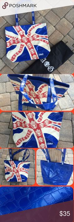British Union Jack Tote Style Handbag A & G Awesome tote style bag, fully lined w/ zippered pocket. crocodile embossed patent leather w/ fleur de lis & A&G LOGO , magnetic enclosure. NWT Logo Dust Cover included! A&G Bags Totes