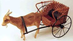 1:12th scale miniature wicker child-sized goat cart