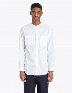 Engineered Garments - Banded Collar Shirt White