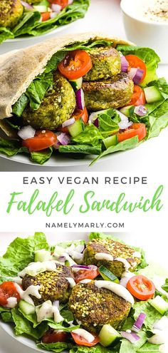 Savor the yummy goodness of this Falafel Sandwich! It's made with a pita pocket, hummus, greens, falafel patties, fresh veggies, and a creamy tahini sauce. You can make a Falafel Sandwich or a Salad to mix things up!  #falafelsandwich #veganfalafel #namelymarly #veganmediterranean Easy Pasta Recipes, Crockpot Recipes, Soup Recipes, Salad Recipes, Dinner Recipes, Picnic Recipes, Lunch Recipes, Vegan Comfort Food, Comfort Foods