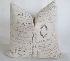 Pillow Cover French Script Paris Both Sides Sepia by UppNorthCo