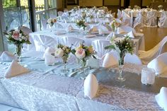 crystal glass table centerpieces- garden roses, cream, and peach flowers