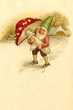 Gnome and mushroom vintage art.