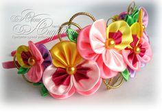 Diadema de flores de tela Kanzashi. por FairAnna en Etsy