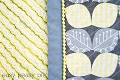 Easy Peasy Pie: Faux Chenille Baby Blanket, like the look with flannel for the chenille side and the pom pom trim in the binding