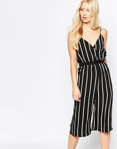 f37a9297a4 Image 1 of Parisian Culotte Jumpsuit in Stripe Fashion Online