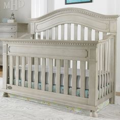 Naples Arched Convertible Crib in Grey Satin from PoshTots