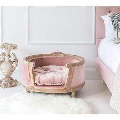 A gently distressed Posh Pooch Pink Pet Bed with a hand-carved wooden frame in a white washed finish, pale pink velvet upholstery and double-piped edes. Pink Dog Beds, Cute Dog Beds, Puppy Beds, Pet Beds For Dogs, Best Dog Beds, Dog Bedroom, Puppy Room, Dog Rooms, Pet Furniture