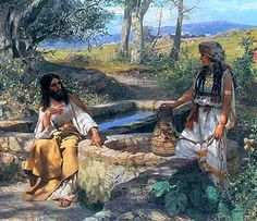 Jesus and the Samaritan woman at the well. CDG Bible Study of the book of John Session 5 Jesus breaks some cultural barriers. Images Bible, Bible Pictures, John Singer Sargent, Christian Paintings, Christian Art, Sainte Therese, Jesus Stories, Bible Stories, Biblical Art