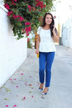 Lace Peplum and Blue Pants1 by Stylish Petite, via Flickr