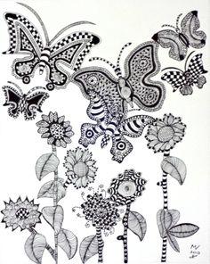 Vlinders en bloemen, getekend door Marja Visscher