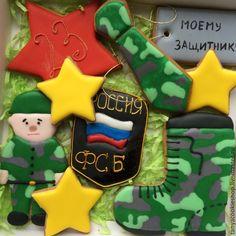 """Купить """"ФСБ """" имбирные пряники - разноцветный, пряник на 23 февраля, подарок на 23 февраля"""
