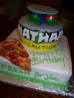 teenage mutant ninja turtle cake - Google Search  I think this is the one. Now to find someone who can make it Ninja Turtle Birthday Cake, Turtle Birthday Parties, Ninja Turtle Party, Birthday Ideas, 5th Birthday, Birthday Cakes, Thomas Birthday, Ninja Party, Golden Birthday