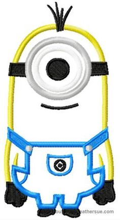 Monion with one eye Machine Applique Embroidery Design, multiple sizes including 4 inch, $3.75