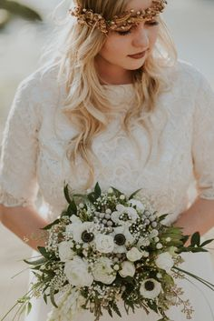 #white bouquet Lydia + Jacob Photo By Shelly Anderson Photography