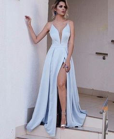 Sexy Slit Prom Dress,Spaghetti Straps Evening Dress,Sexy Deep V-neckline Ice Blue Prom Dresses,MB 69