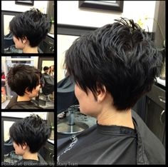 Great Hair cut for thick hair! Choppy razor layers through the crown, over the ears on the sides, and very short from behind ears to the neck line for the tapered look in back!!!