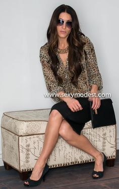 Leopard blouse and skirt