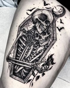 Today we want to show you the work of the American tattoo artist - Angelo Parente, who creates stunning, contrasting graphic tattoos, exactly the way all fans of this trend love them. tattoos Halloween tattoos by Angelo Parente Back Tattoos, Future Tattoos, Leg Tattoos, Body Art Tattoos, Sleeve Tattoos, Cool Tattoos, Tatoos, Makeup Tattoos, Badass Tattoos
