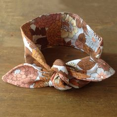 Vintage handmade knotted orange and brown fabric headband £6.50 #upcycled #vintage